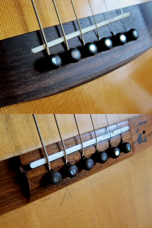 1973 Morris W-40 and 1966 Levin LT-16 with new ebony bridge pins