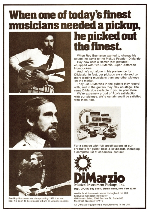 Roy Buchanan in a DiMarzio ad from Guitar Player Magazine, May 1977