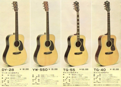 Yairi TG-40 Japan Catalogue 1970's