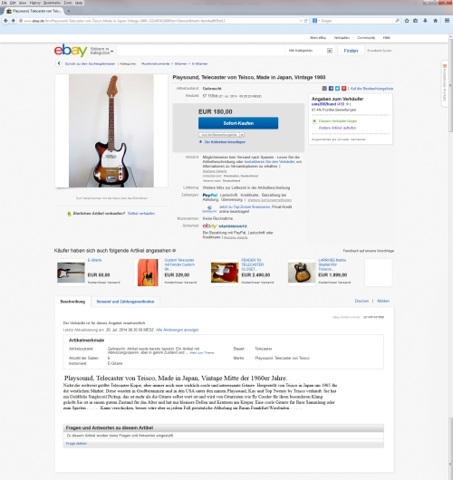 Playsound, Telecaster copy by Teisco, Made in Japan, mid 1960′s