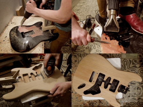 Sripping a guitar body
