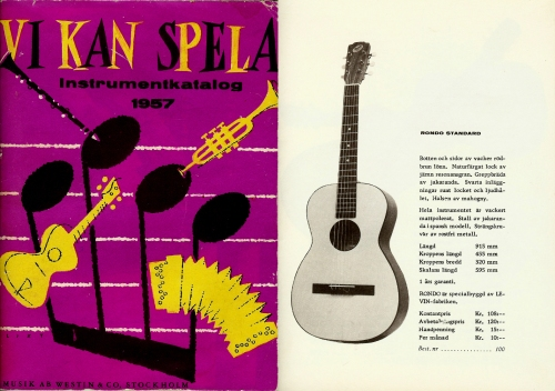 Rondo guitar, Musik AB Westin & Co 1957 catalogue