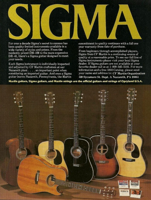 Sigma D-41 Made in Japan 1982 guitar ad