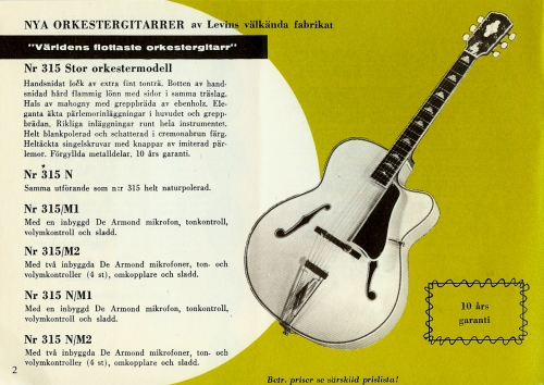 Levin 315N, 1959 Harriers Musikkatalog, Levin catalog